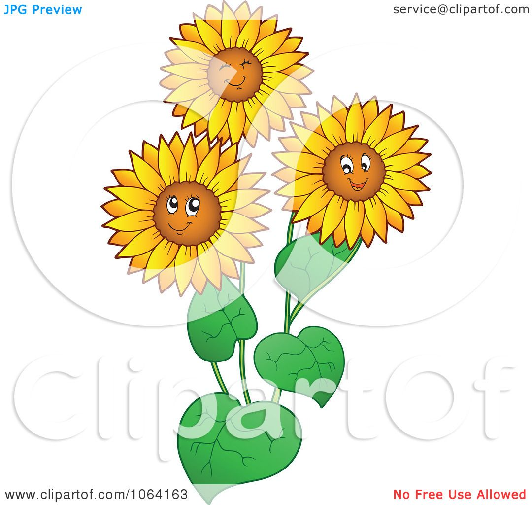 Clipart Happy Sunflowers - Royalty Free Vector ...