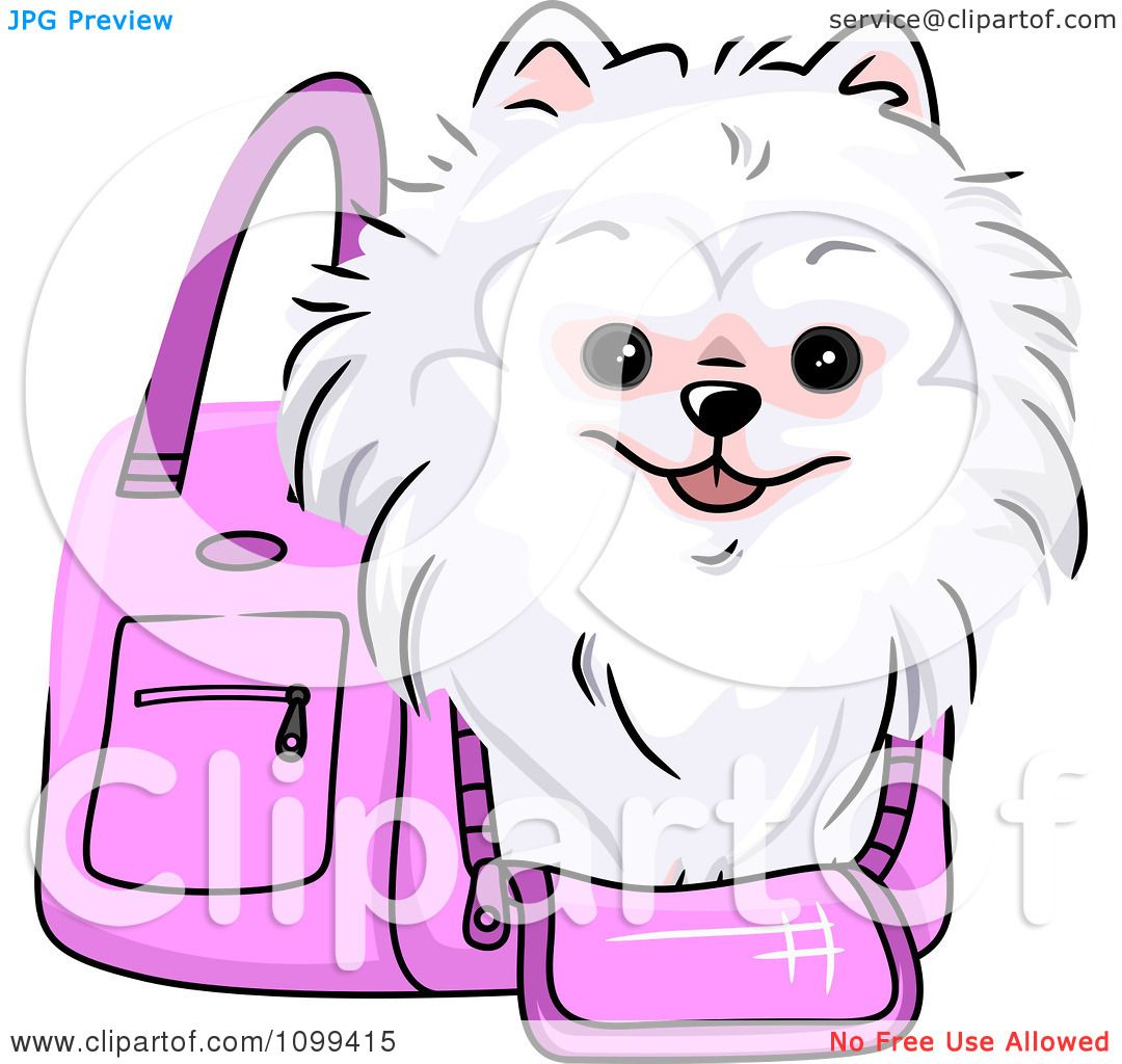 Clipart Happy White Pomeranian In A Pink Dog Carrier Bag ...