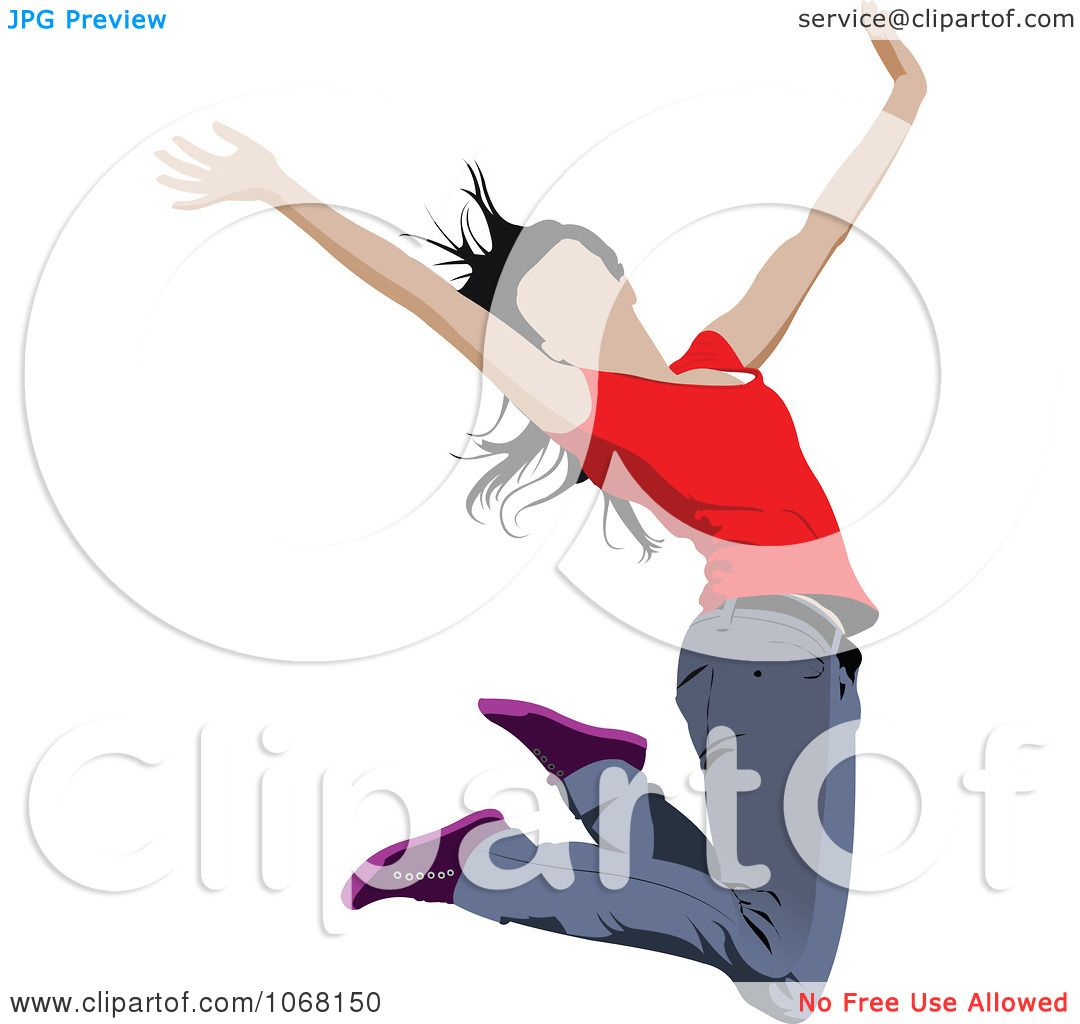 Clipart Happy Woman Jumping 3 - Royalty Free Vector ...