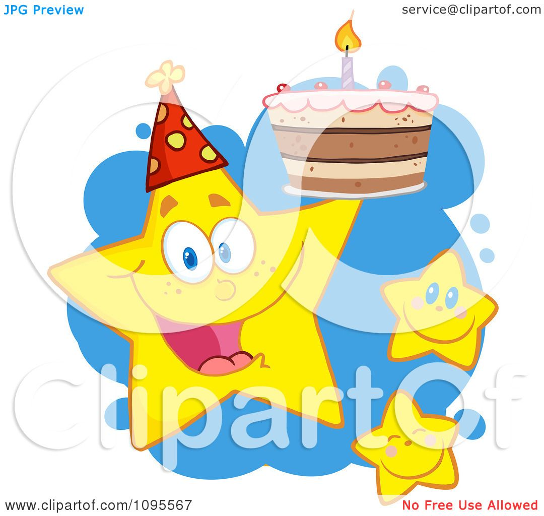 Clipart Happy Yellow Stars With A Birthday Cake Over Blue Splatters