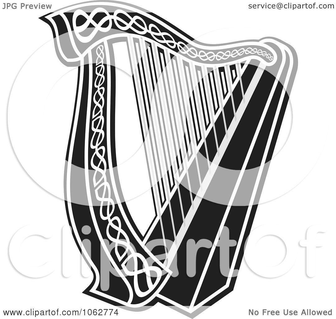 Clipart Harp Black And White Royalty Free Vector
