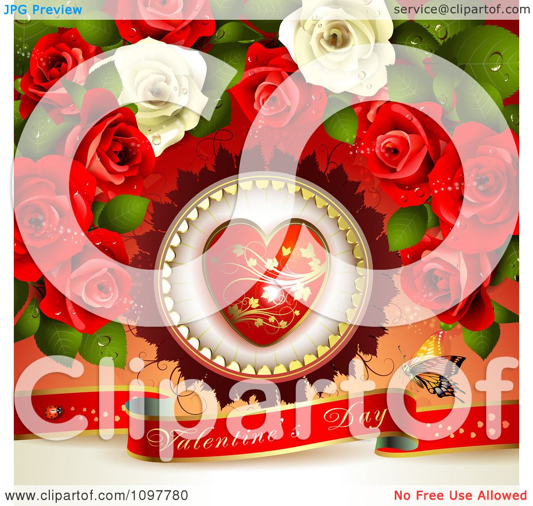 clipart heart and rose valentines day background with a