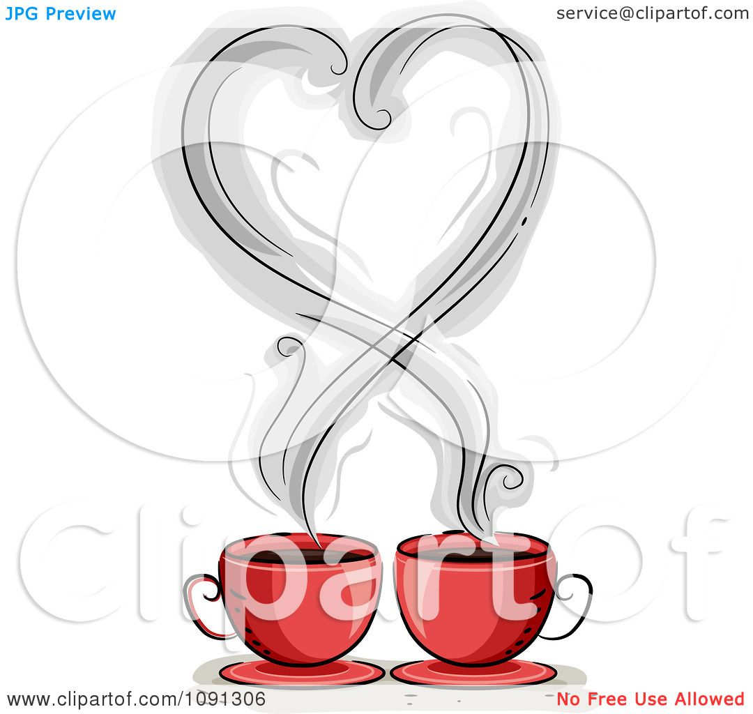 Clipart Heart Shaped Coffee Steam Over Two Red Mugs ...