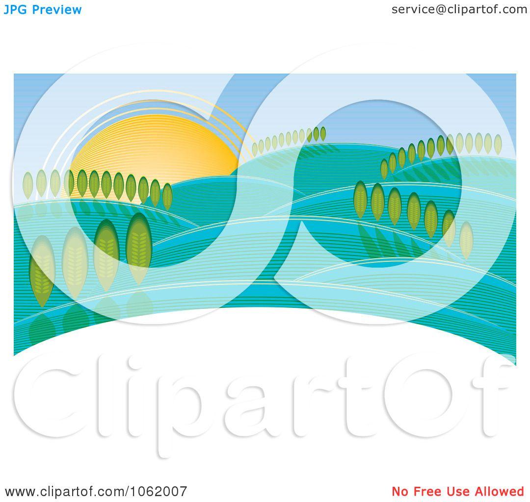 Landscape Illustration Vector Free: Clipart Hilly Rural Landscape