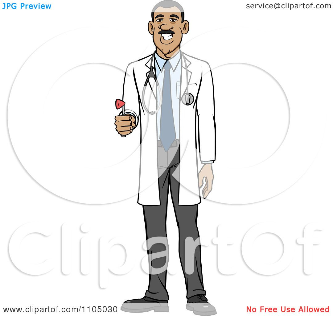 Clipart Hispanic Male Doctor Holding A Medical Hammer