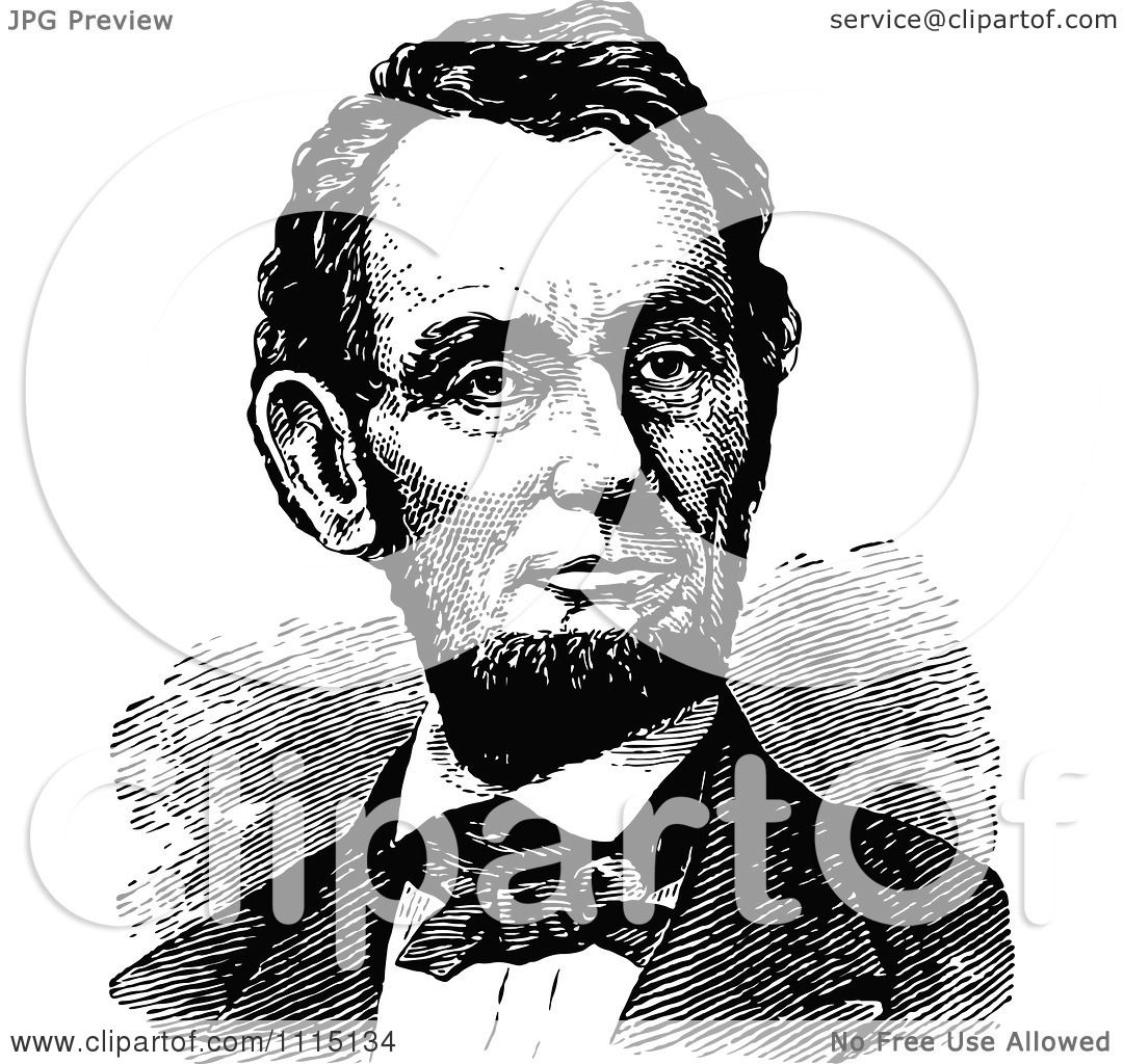 Clipart Historical Black And White Portrait Of Abe Lincoln