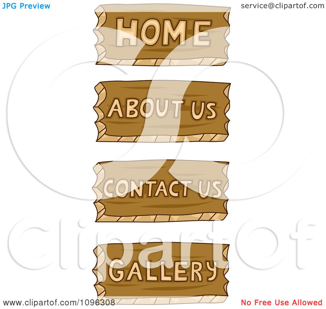 Home about service contact us photo gallery - Clipart Home About Us Contact Us And Gallery Wood Carved Icons Royalty Free Vector Illustration By Bnp Design Studio