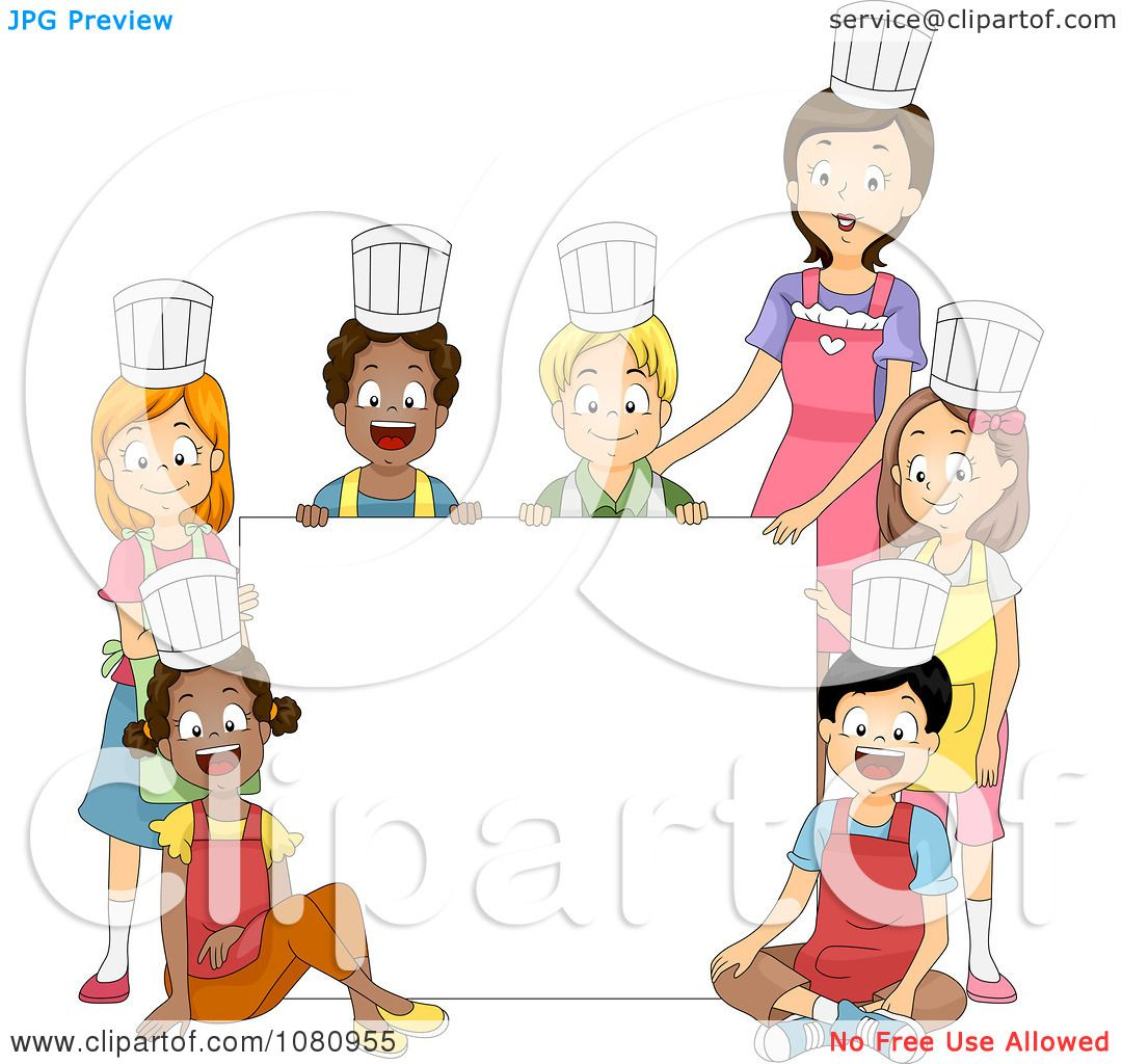Clipart Home Economics Class And Teacher Around A Blank Sign ...
