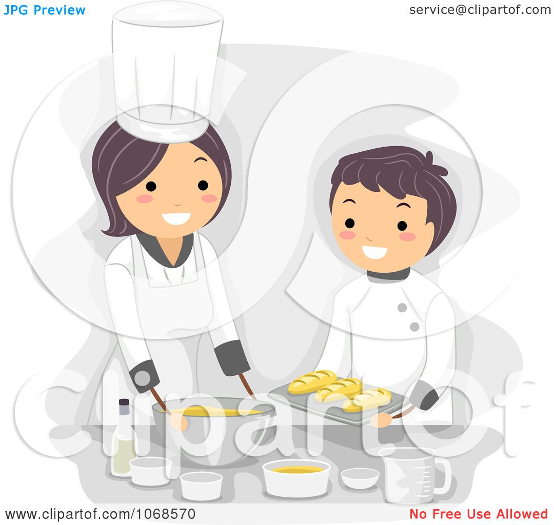 Clipart Home Economics Teacher And Boy Cooking - Royalty Free ...