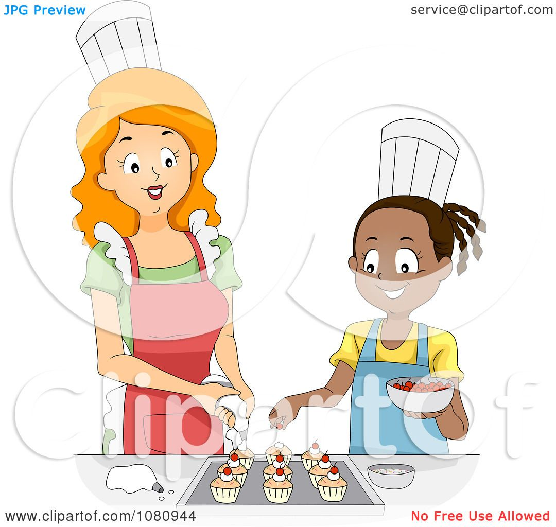 Clipart Home Economics Teacher Decorating Cupcakes With A Girl ...