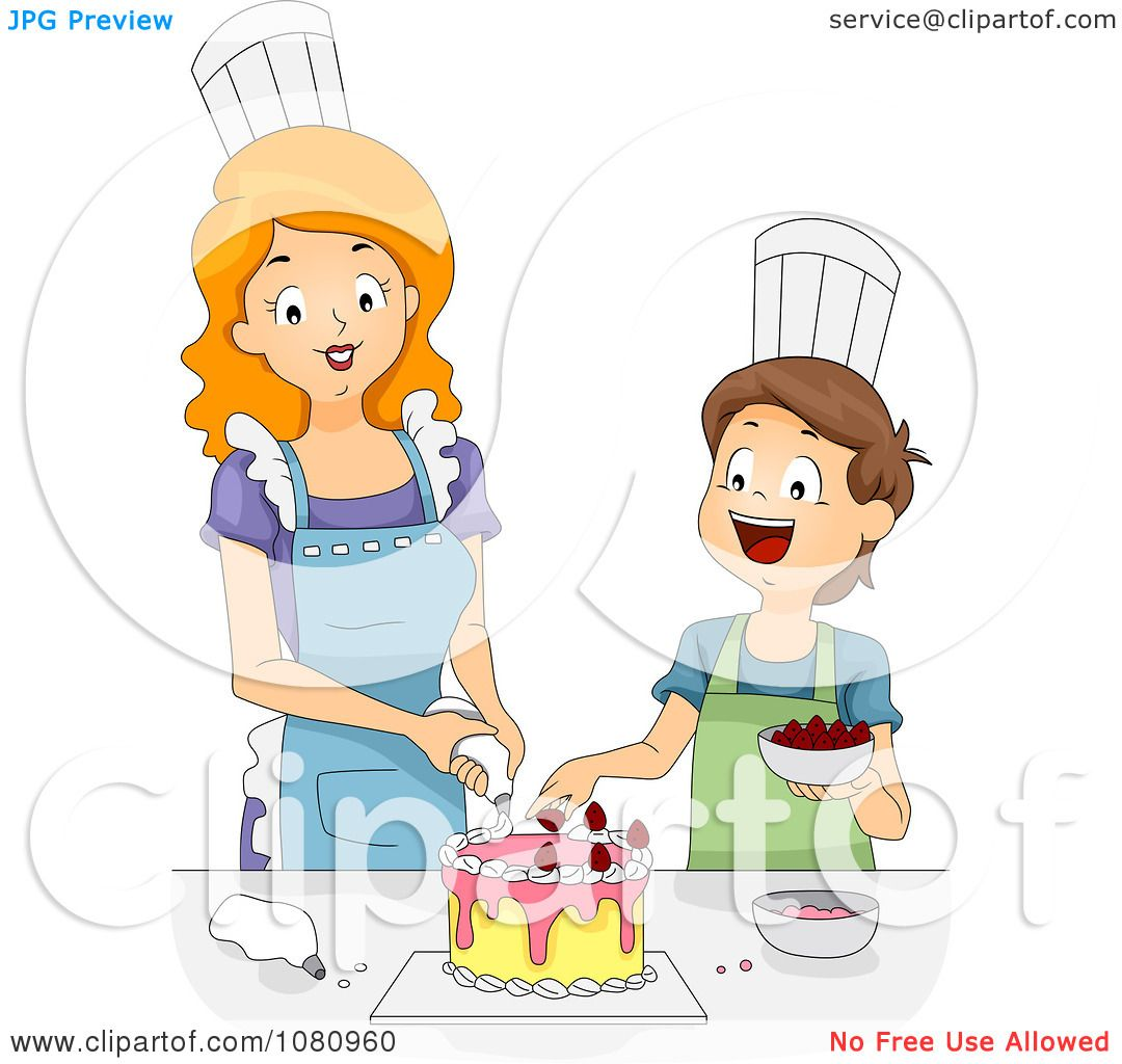 clipart home economics teacher helping a boy decorate a cake royalty free vector illustration by bnp design studio