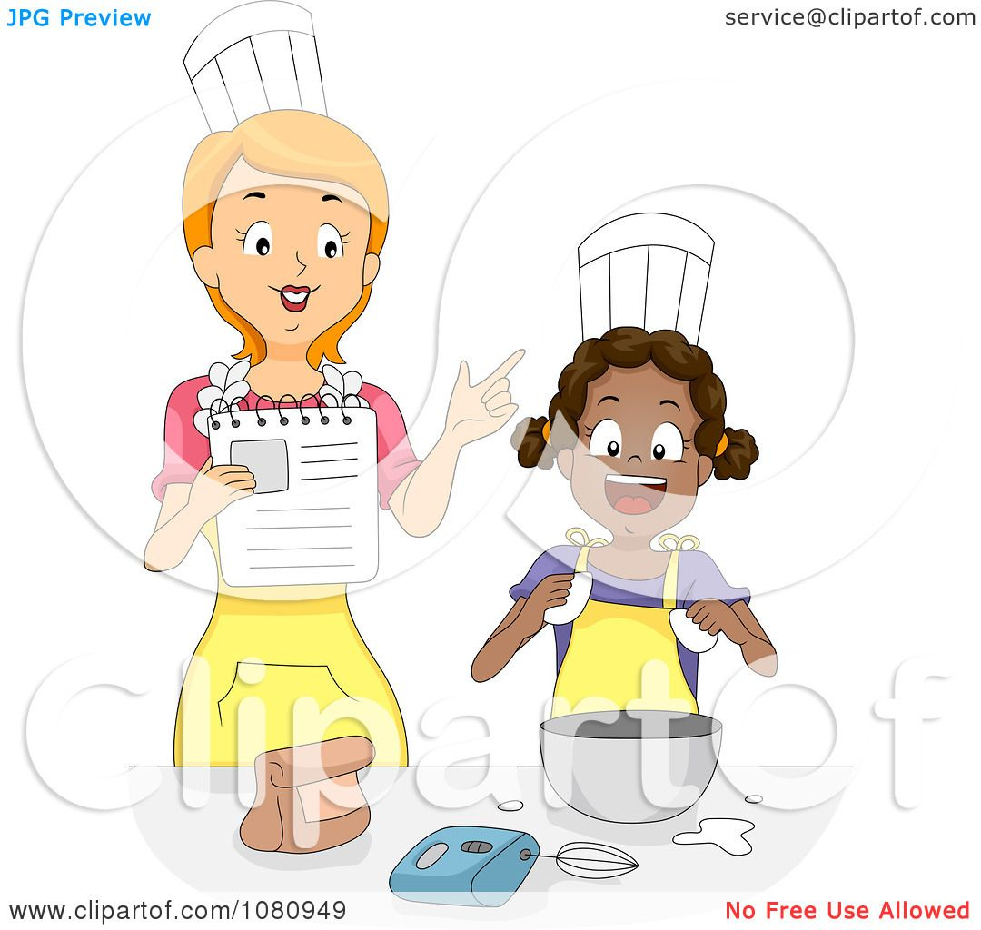 Clipart Home Economics Teacher Instructing A Girl - Royalty Free ...