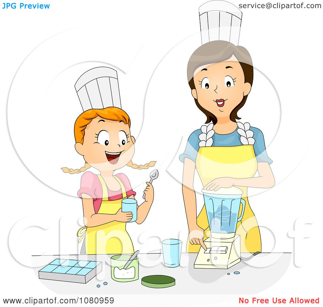 Clipart Home Economics Teacher Showing A Girl How To Use A Blender ...