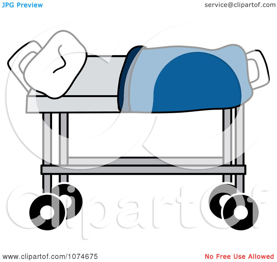 Clipart Hospital Gurney And Blanket - Royalty Free Vector ...