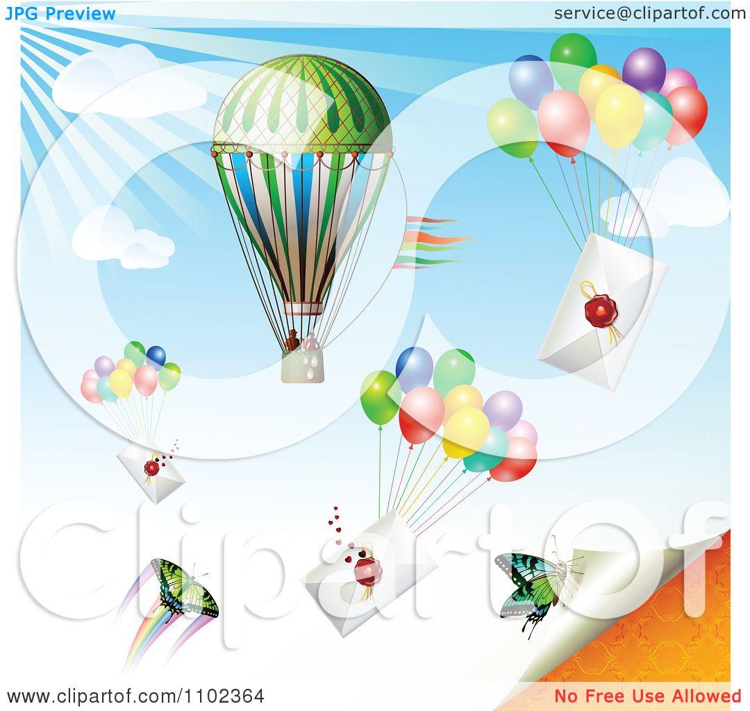 Clipart Hot Air Balloon Butterflies