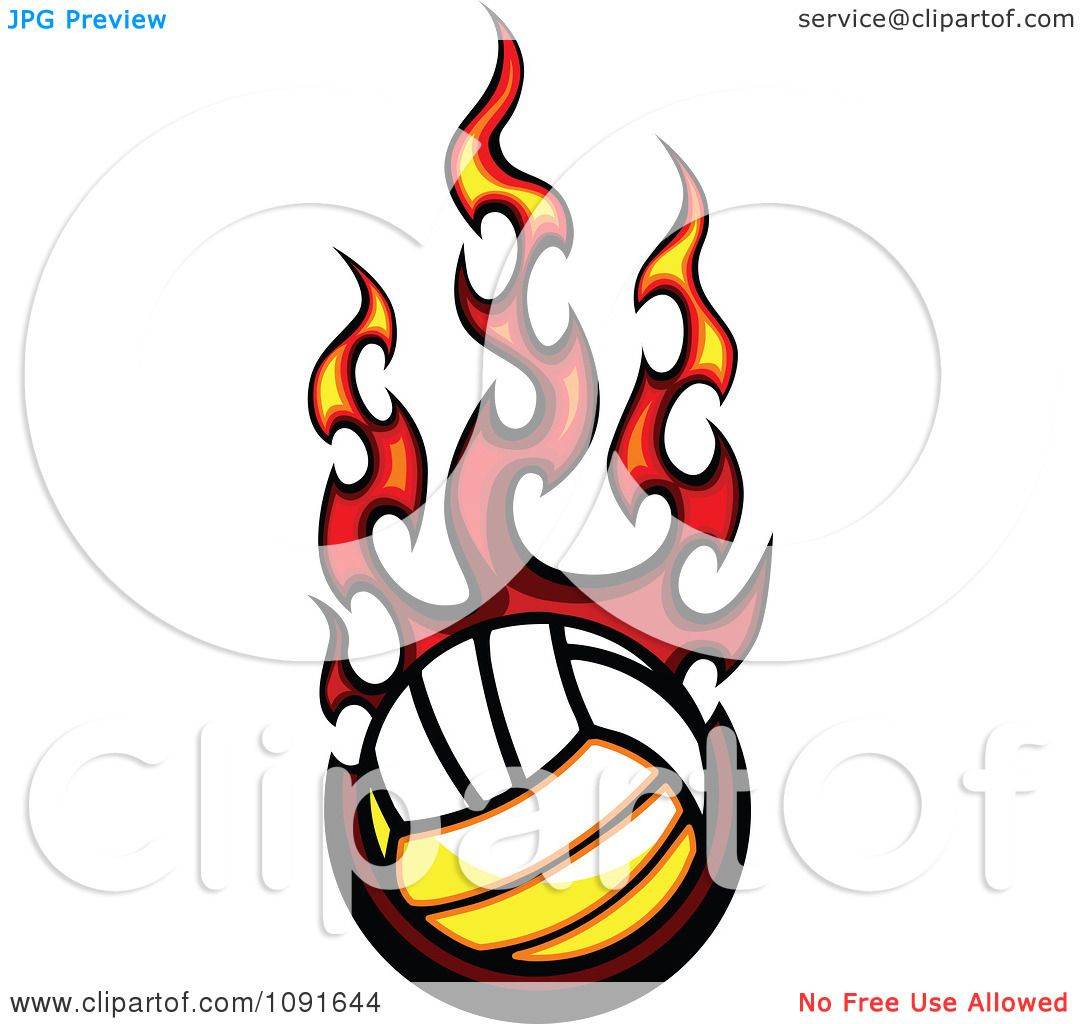 Clipart Hot Volleyball And Red Flames - Royalty Free Vector ...