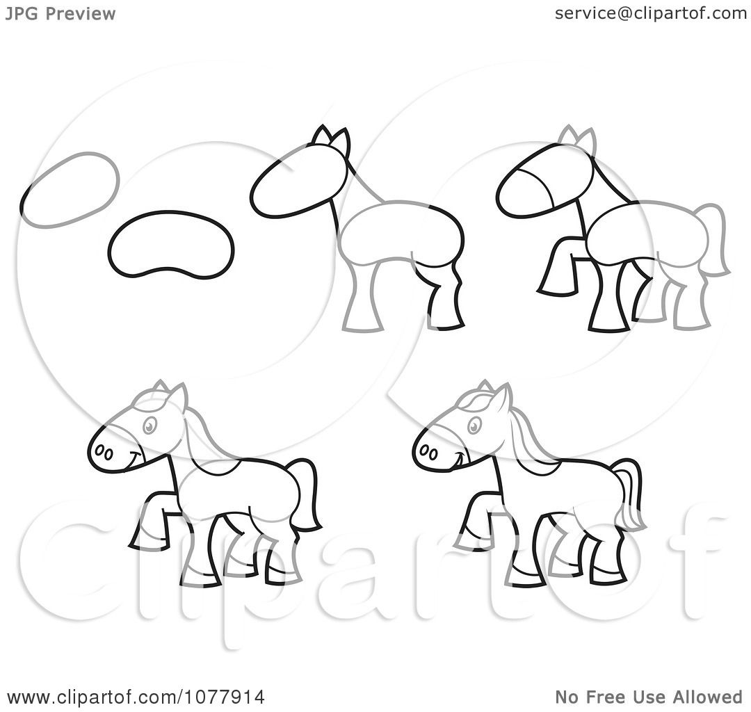 Clipart How To Draw A Horse Sketches Royalty Free Vector Illustration By  Jtoons Clipart How To