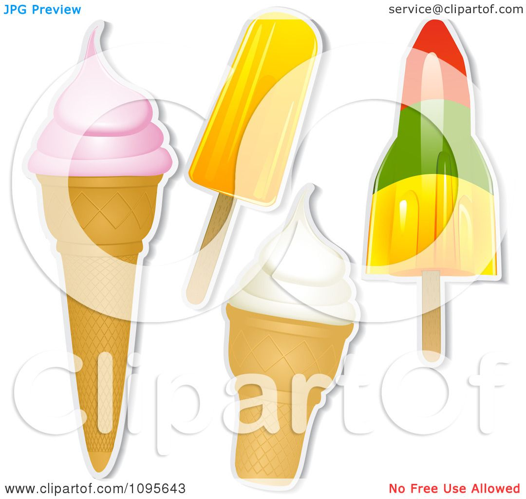 Ice Cream Cones Background Royalty Free Vector Image: Clipart Ice Cream Cones And Popsicles With White Outlines