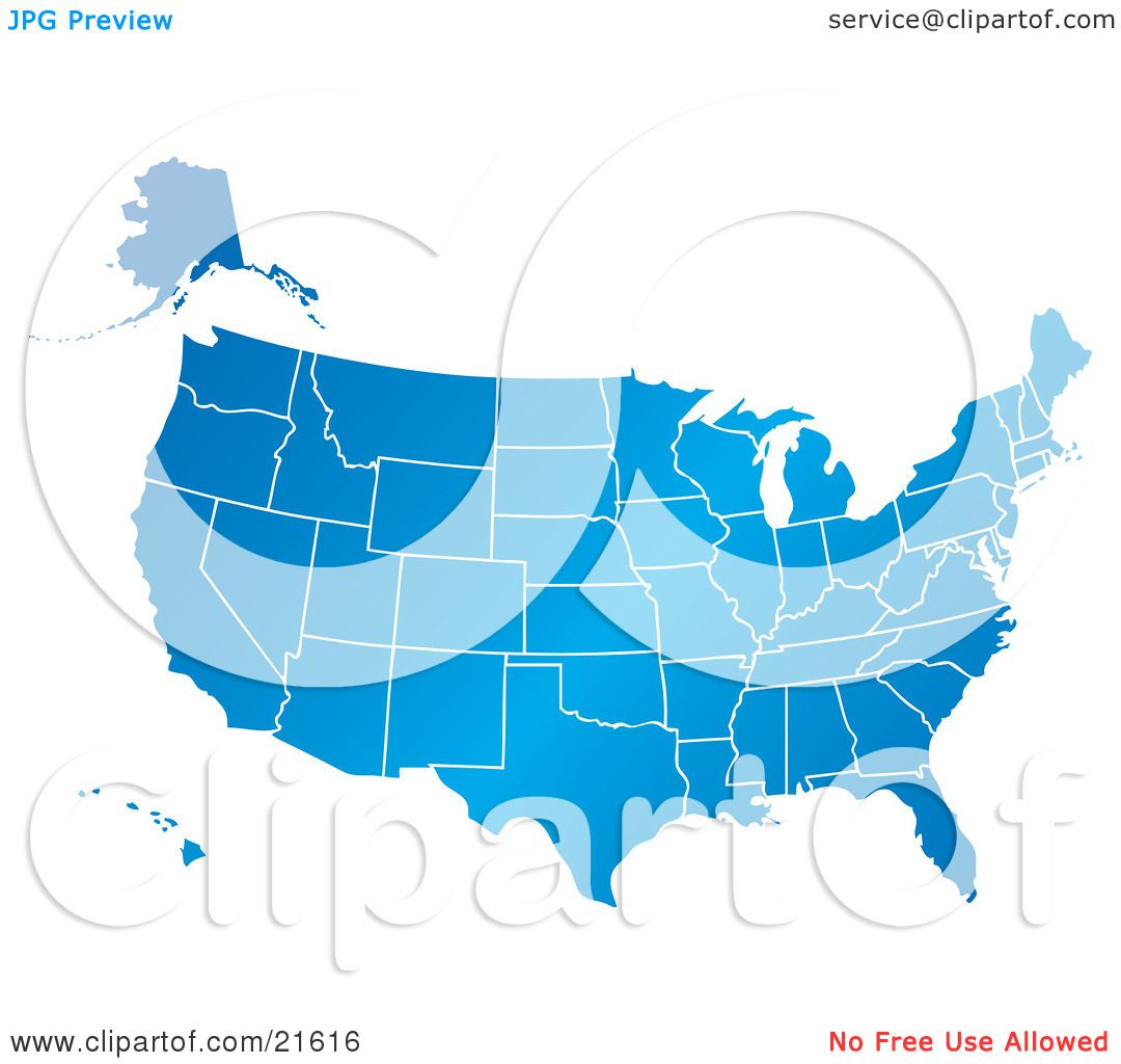clipart ilration graphic of a gradient blue united states of america map with all of the states on a white background by tonis pan