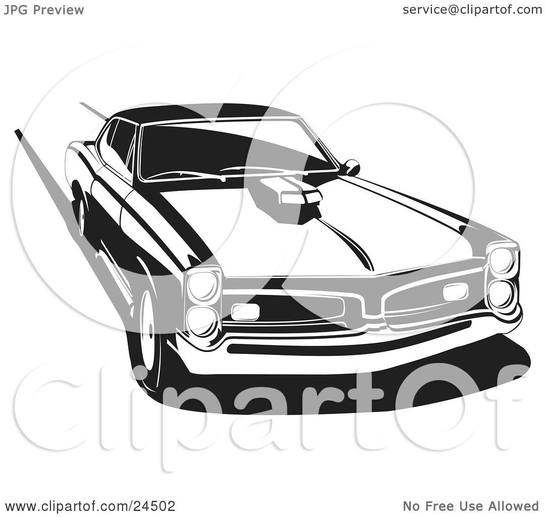 clipart illustration of a 1966 pontiac gto muscle car with a hood scoop burning rubber and. Black Bedroom Furniture Sets. Home Design Ideas