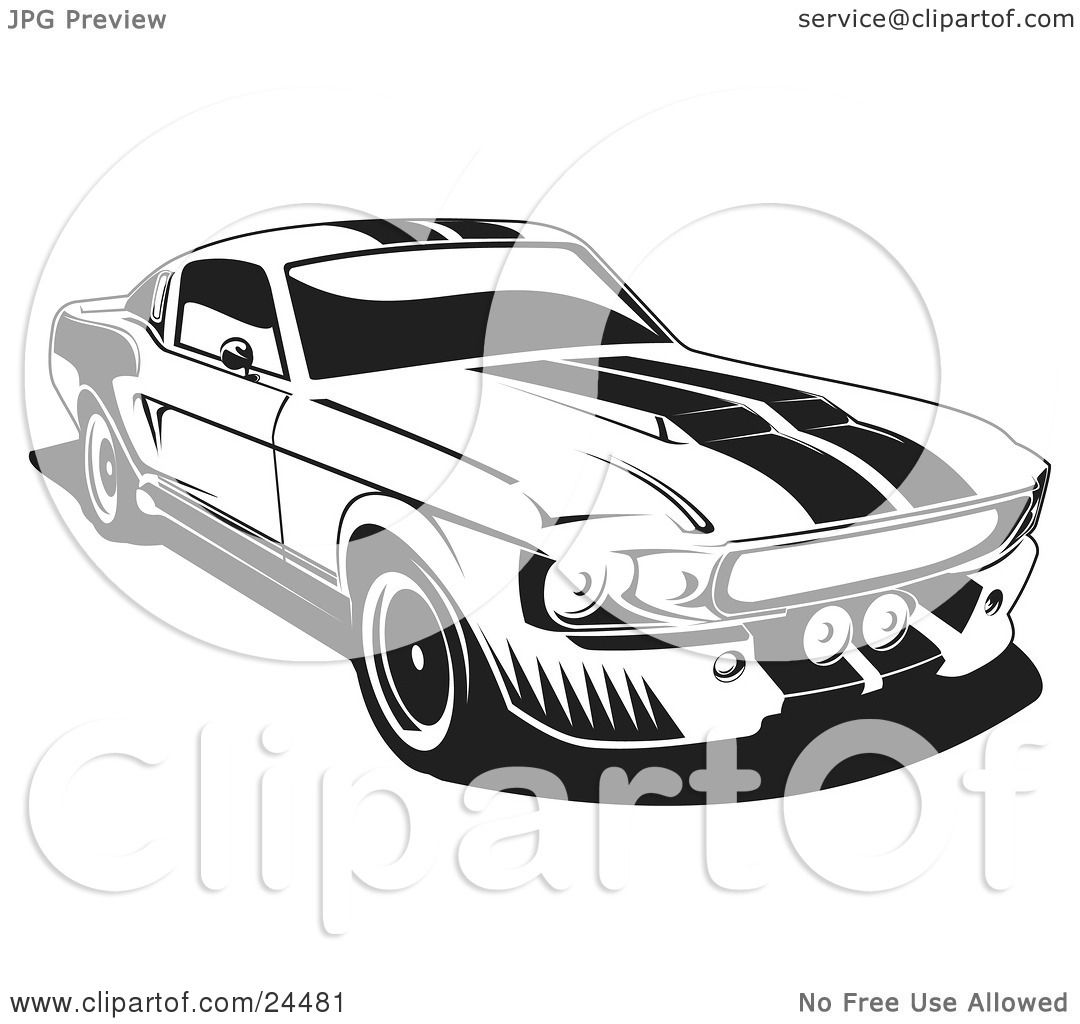 Black And White Ford: Clipart Illustration Of A 1967 Ford Mustang Gt500 Muscle