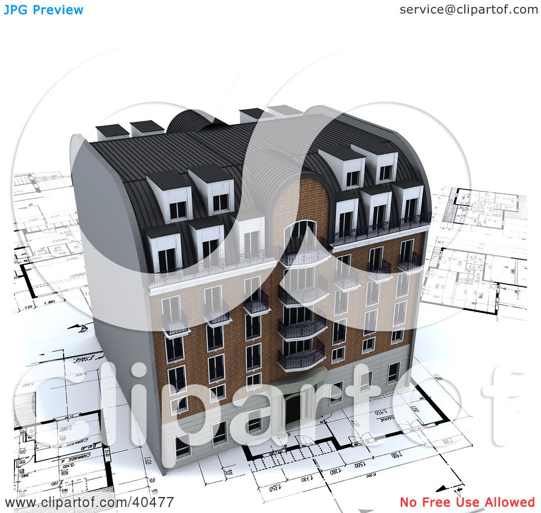 Clipart Illustration of a 3d Apartment Building On Architectural ...