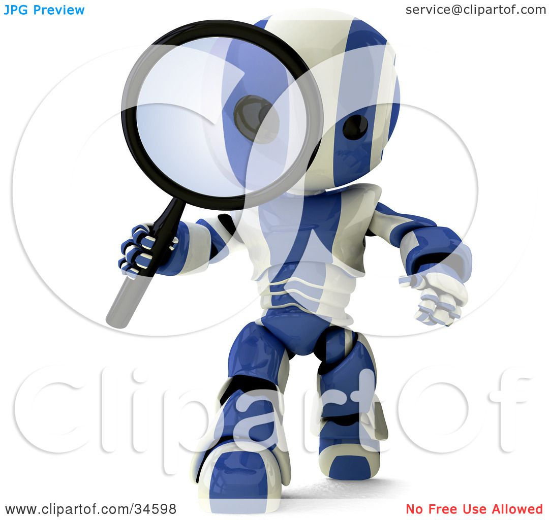 clipart illustration of a d blue and white ao maru robot clipart illustration of a 3d blue and white ao maru robot researching and peering through a magnifying glass by leo blanchette