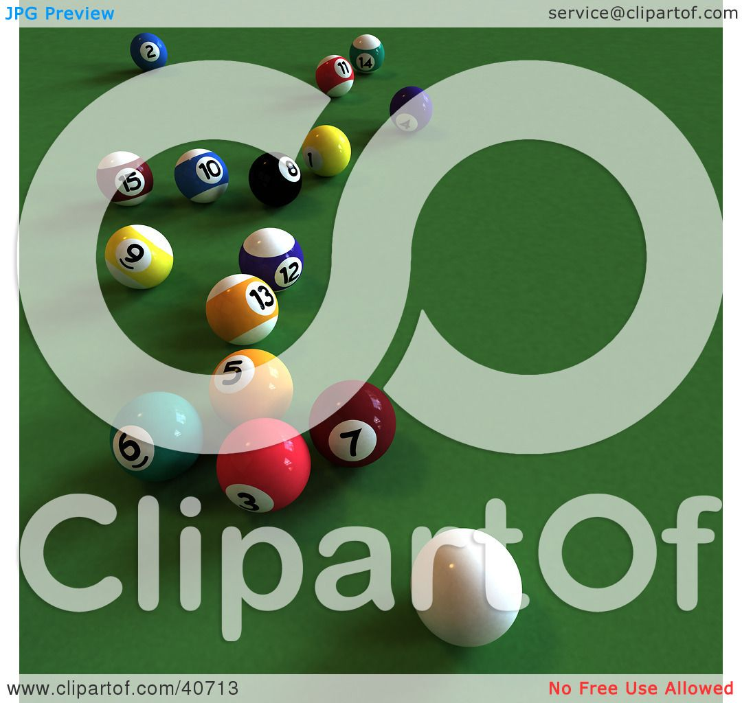 Pool Table Balls Scattered Clipart Illustr...