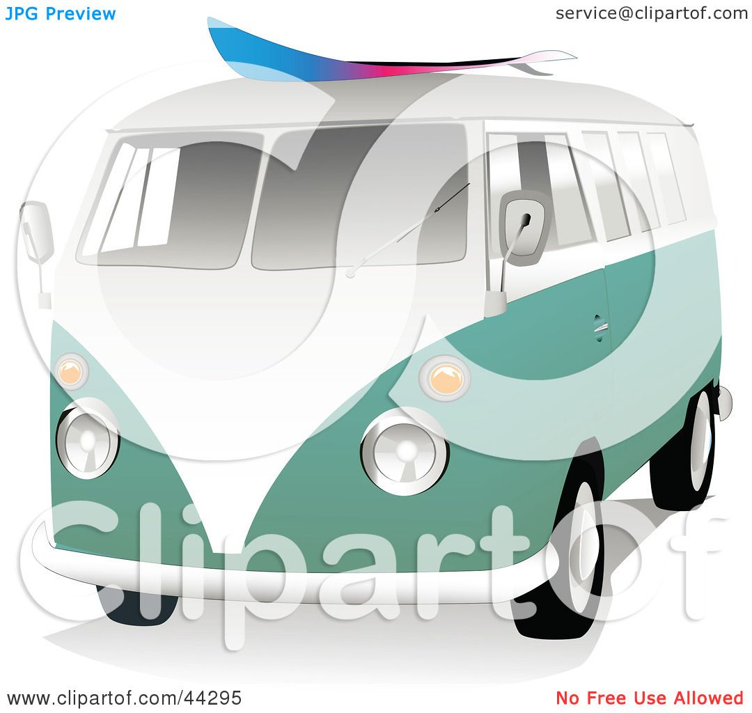 Clipart Illustration Of A 3d Green And White VW Van With Surf Board On The