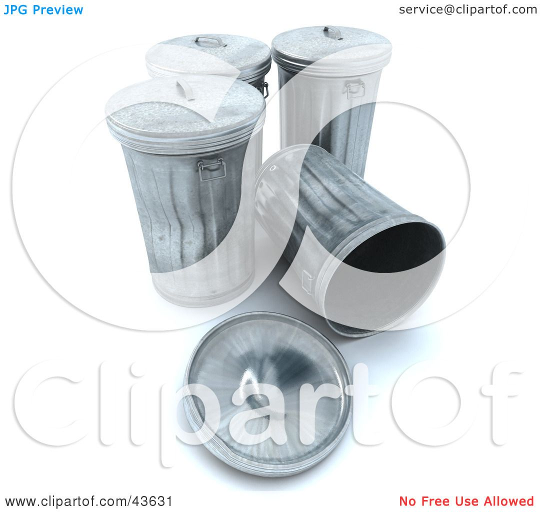 Clipart Illustration Of A 3d Group Of Metal Trash Cans