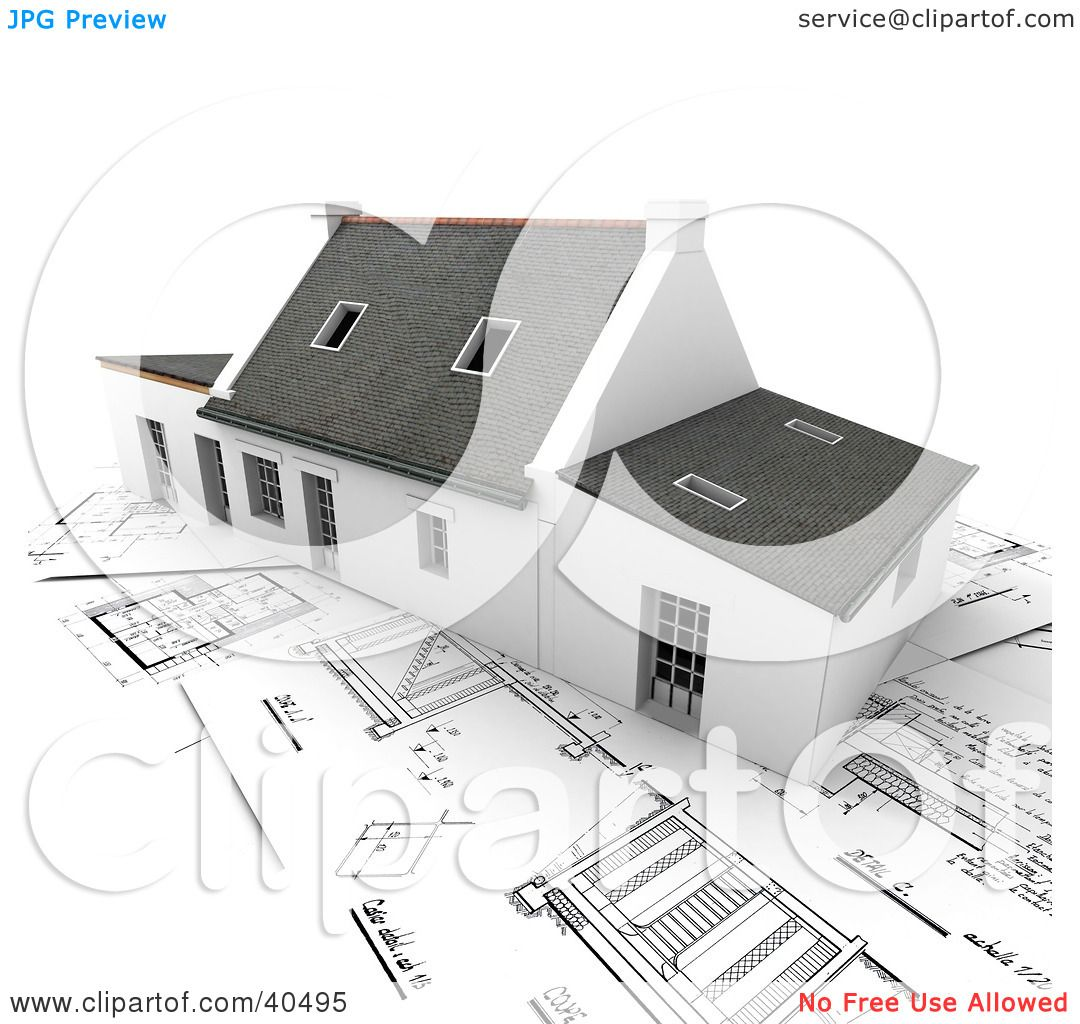 Clipart illustration of a 3d home with skylights resting on clipart illustration of a 3d home with skylights resting on blueprints by frank boston malvernweather Gallery