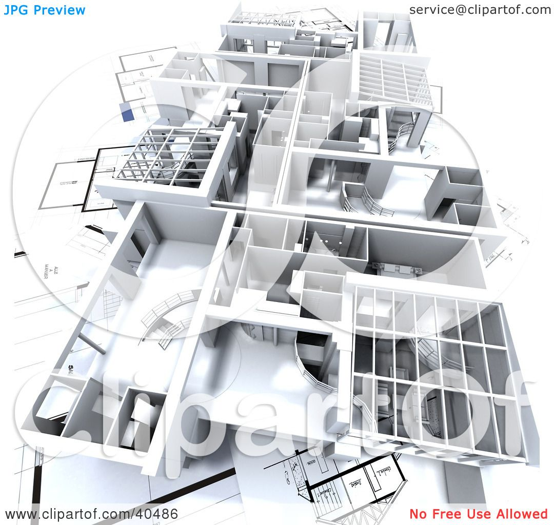 Clipart Illustration of a 3d Model Flat On Blueprints by Franck