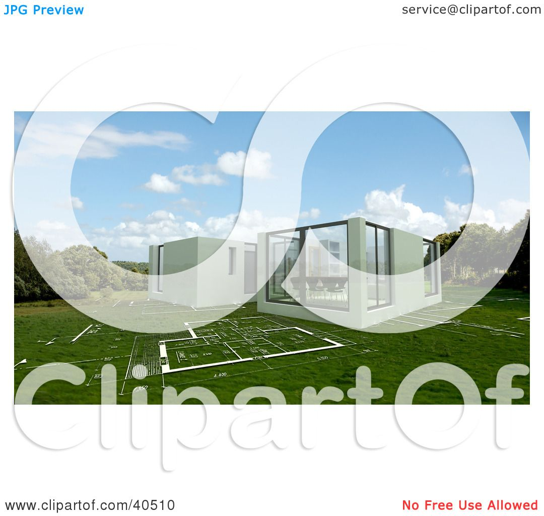 Clipart Illustration of a 3d Office Building Meeting Room Over Lawn ...