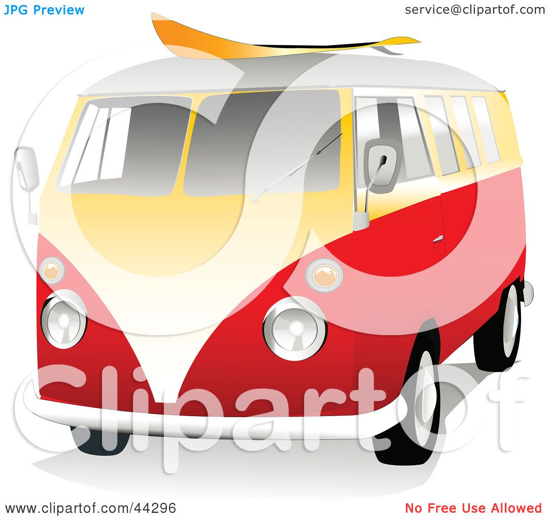 Clipart Illustration Of A 3d Orange And Yellow VW Van With Surf Board On The