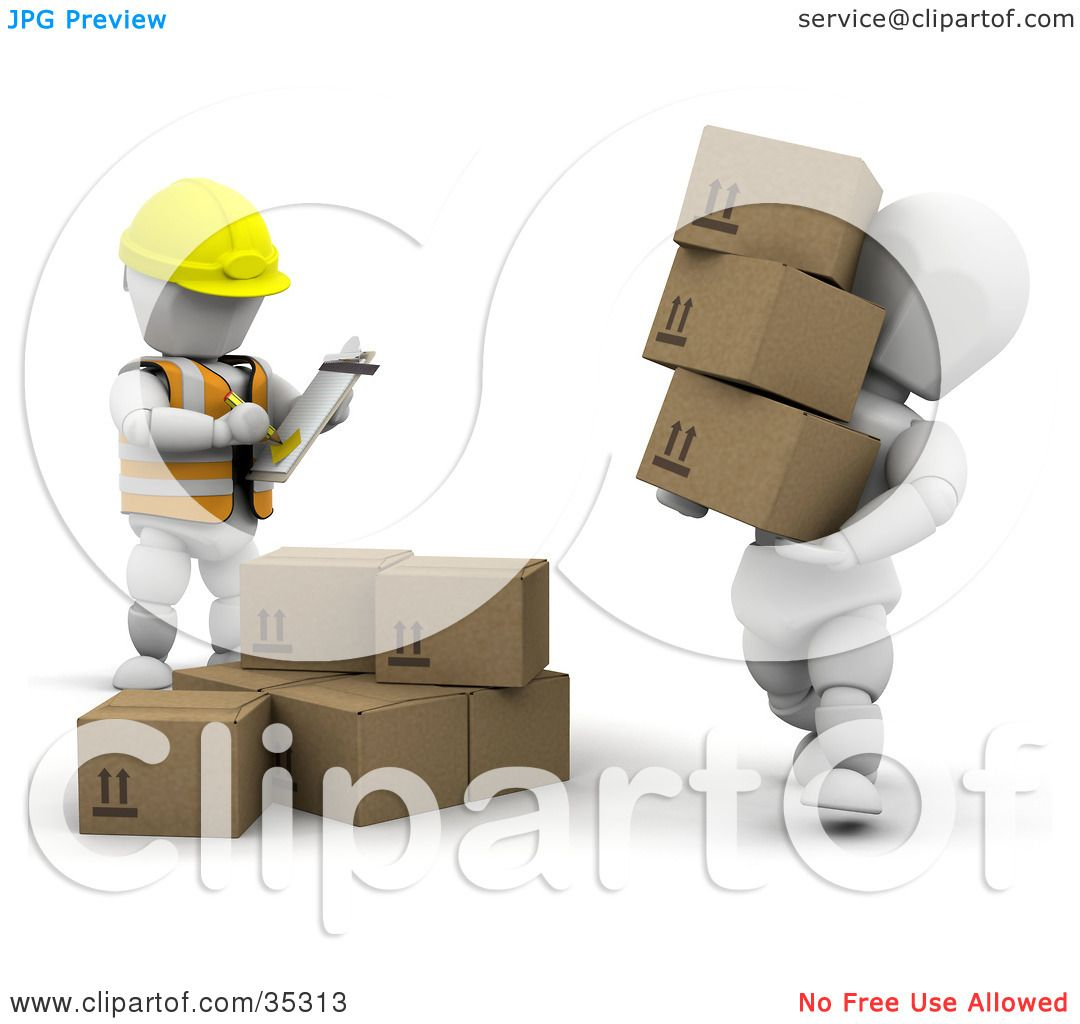 clipart illustration of a d white character carrying boxes while clipart illustration of a 3d white character carrying boxes while being watched by a supervisor by kj pargeter
