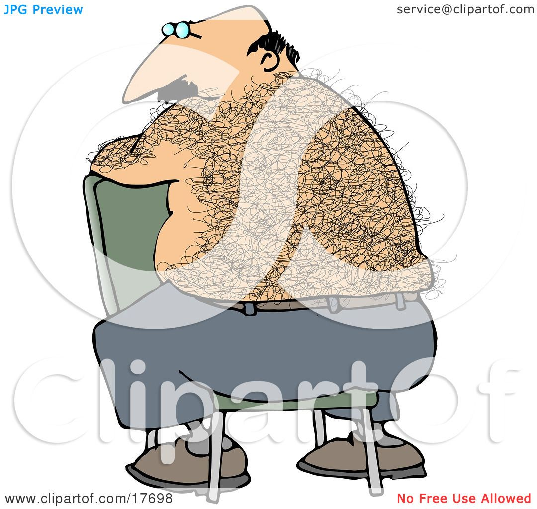 Clipart Illustration of a Bald, Middle Aged Caucasian Man With A Hairy Back  Sitting Backwards