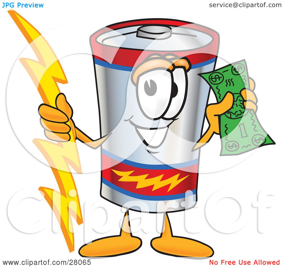 Clipart Illustration Of A Battery Mascot Cartoon Character