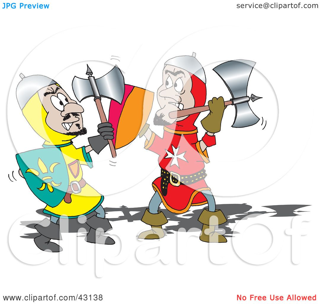 Clipart Illustration of a Battle Between Two Knights With ...