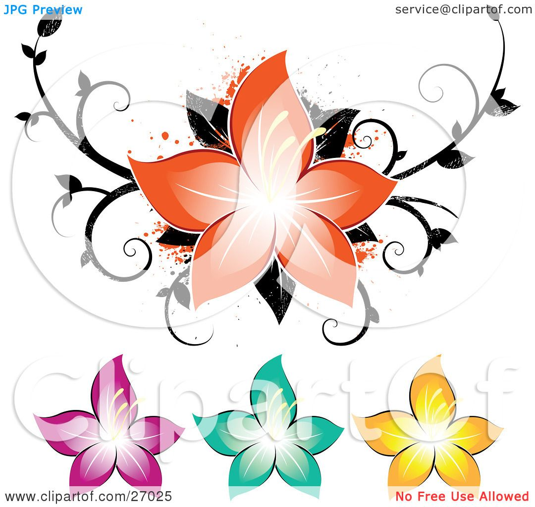 Clipart Illustration of a Beautiful Orange Flower Over A Grunge ...