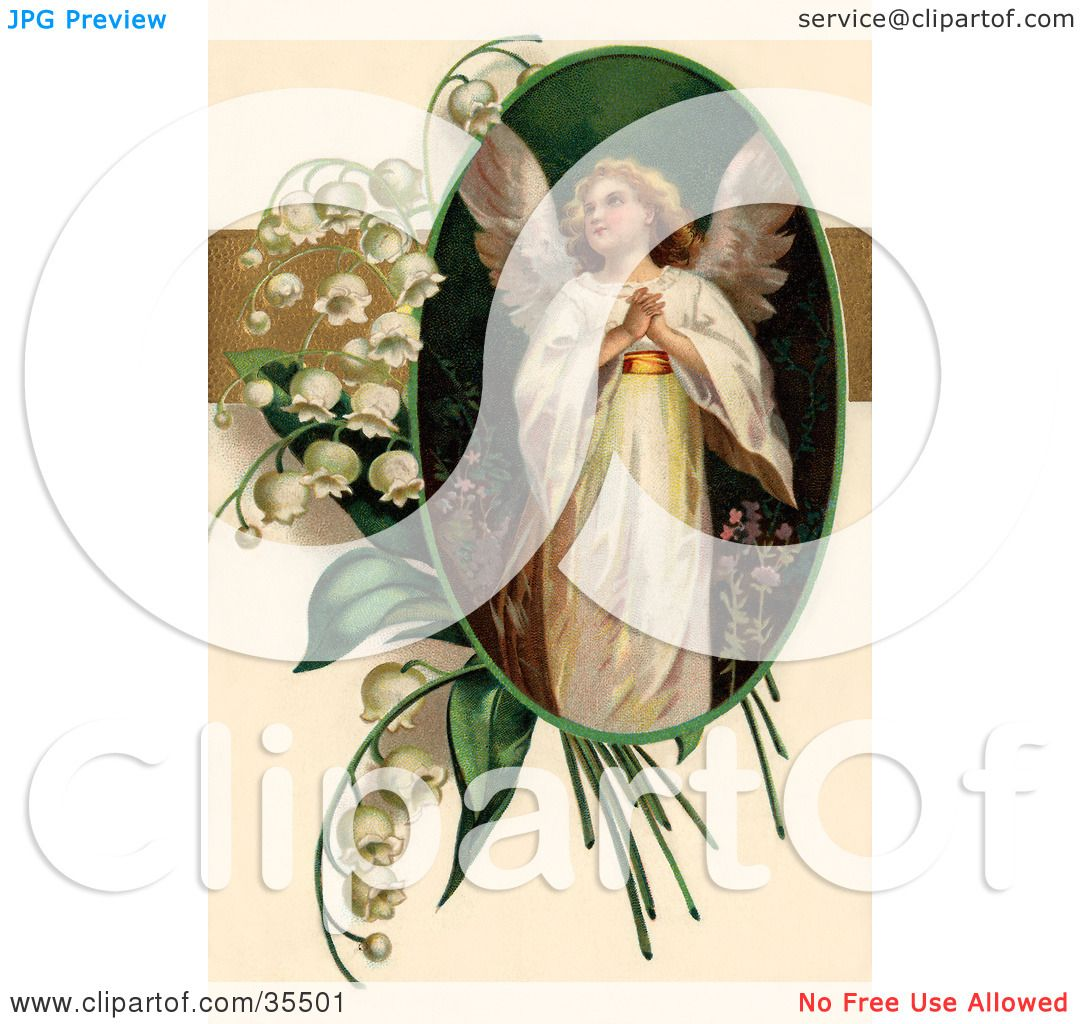 Clipart Illustration Of A Beautiful Victorian Easter Angel Looking