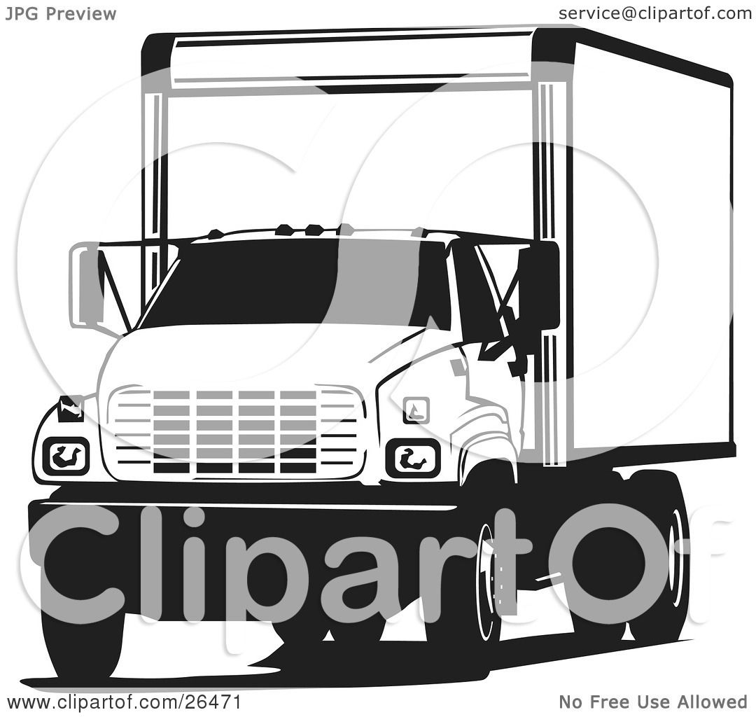 Clipart Illustration of a Big Delivery Truck Parked, In ...