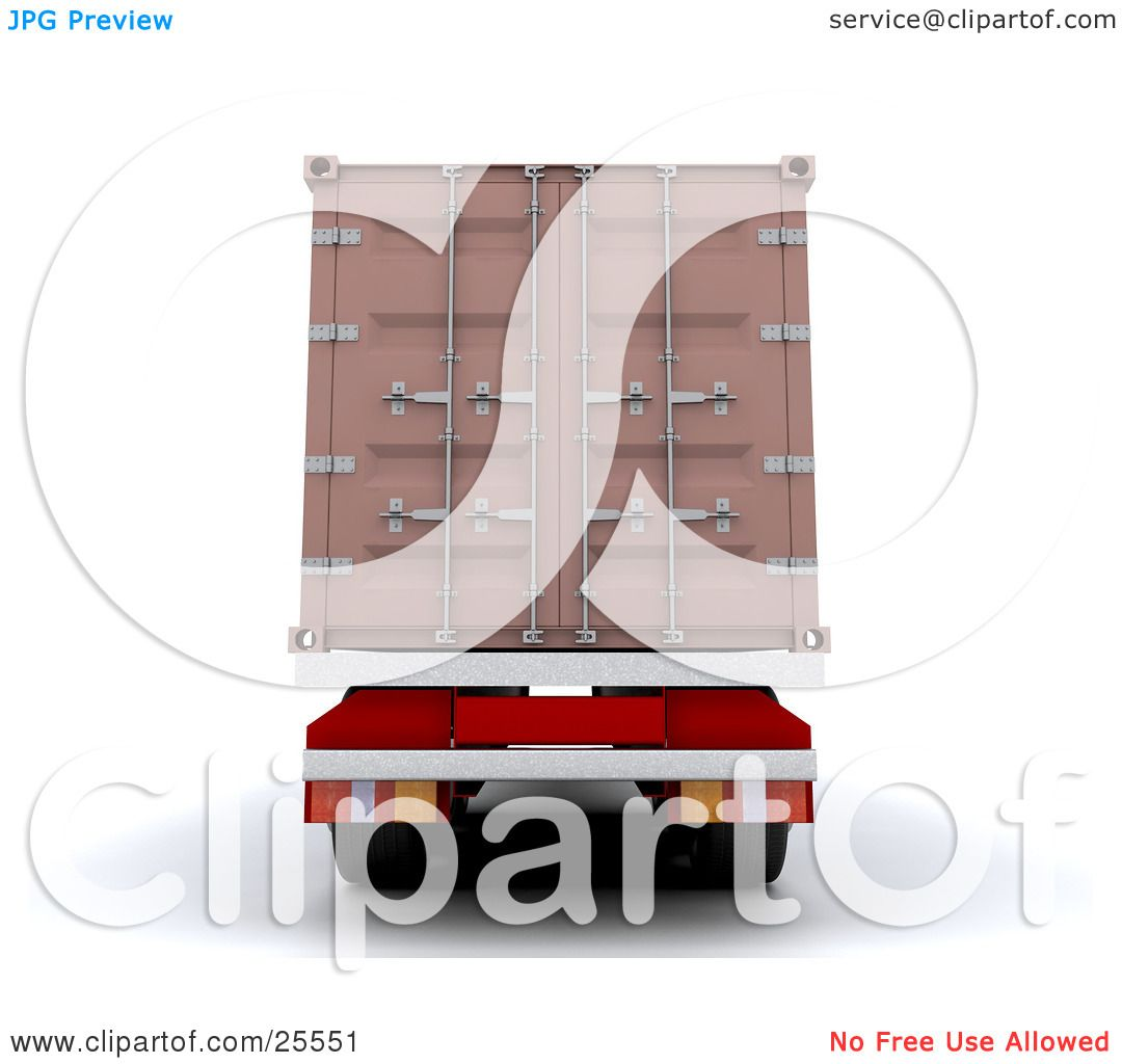 Clipart Illustration of a Big Rig Truck Backing Up With A Freight Container  by KJ Pargeter