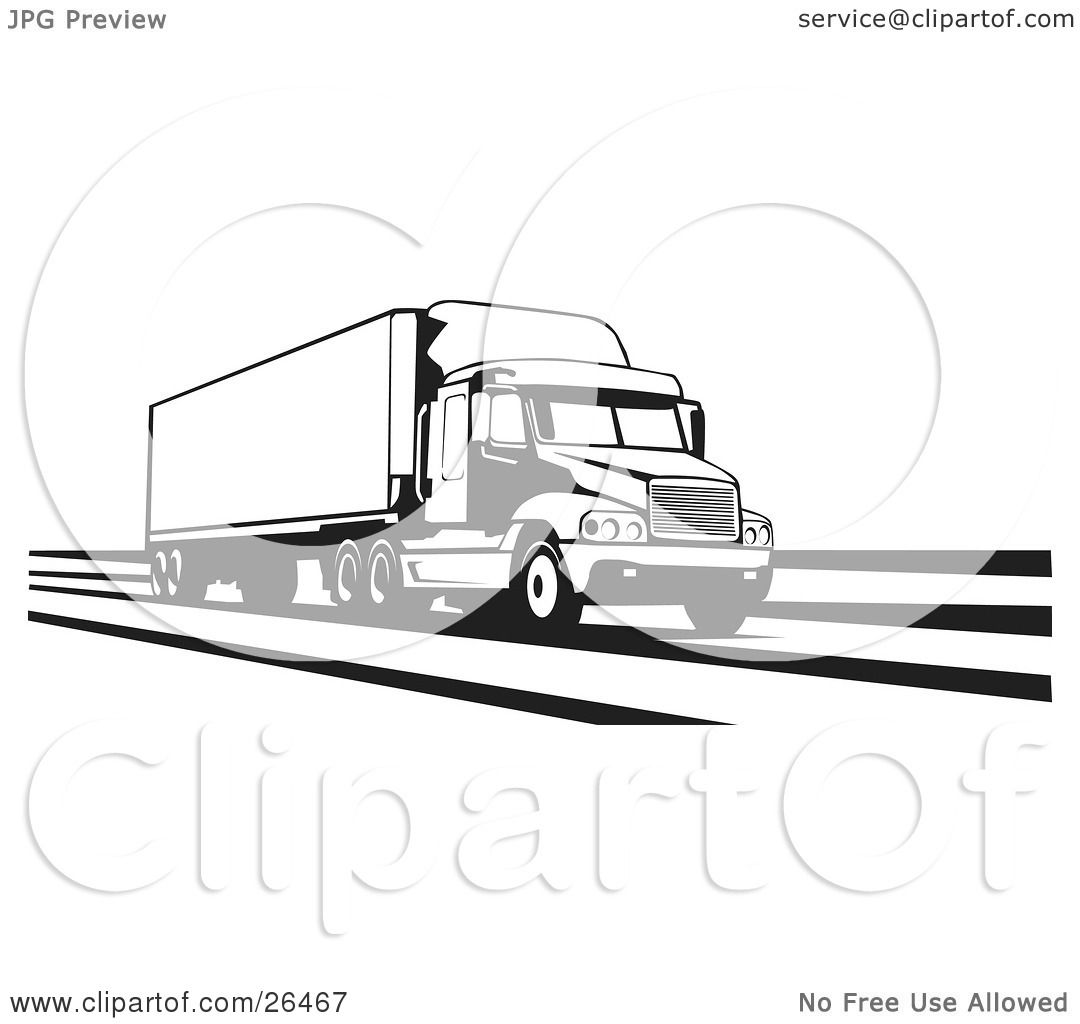 Clipart Illustration of a Big Rig Truck Speeding Along The ...