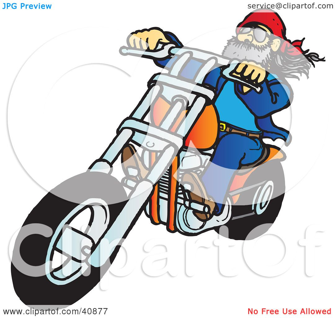 Clipart illustration of a biker dude with a beard riding - Clipart illustration ...