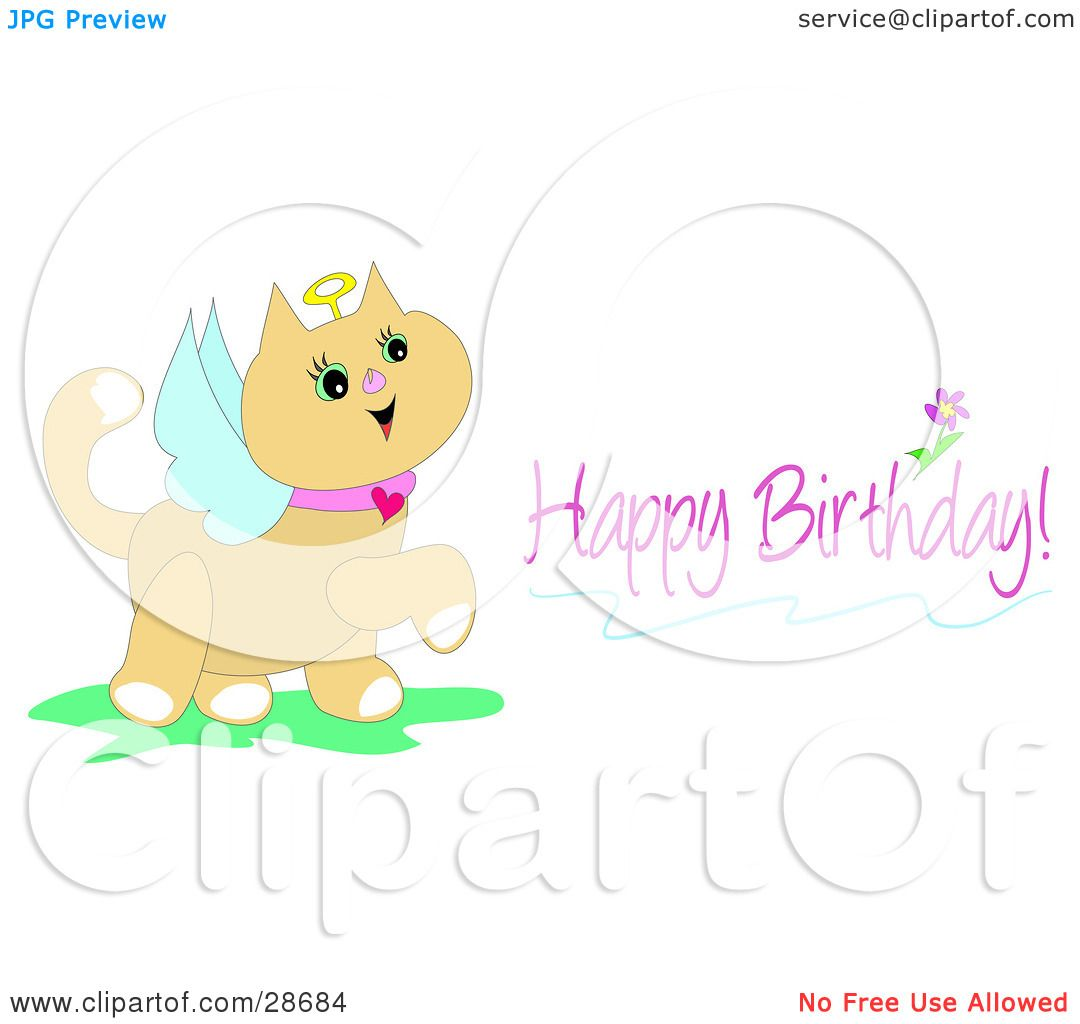 Clipart illustration of a birthday greeting of a cute angel cat with clipart illustration of a birthday greeting of a cute angel cat with a halo and wings by bpearth m4hsunfo