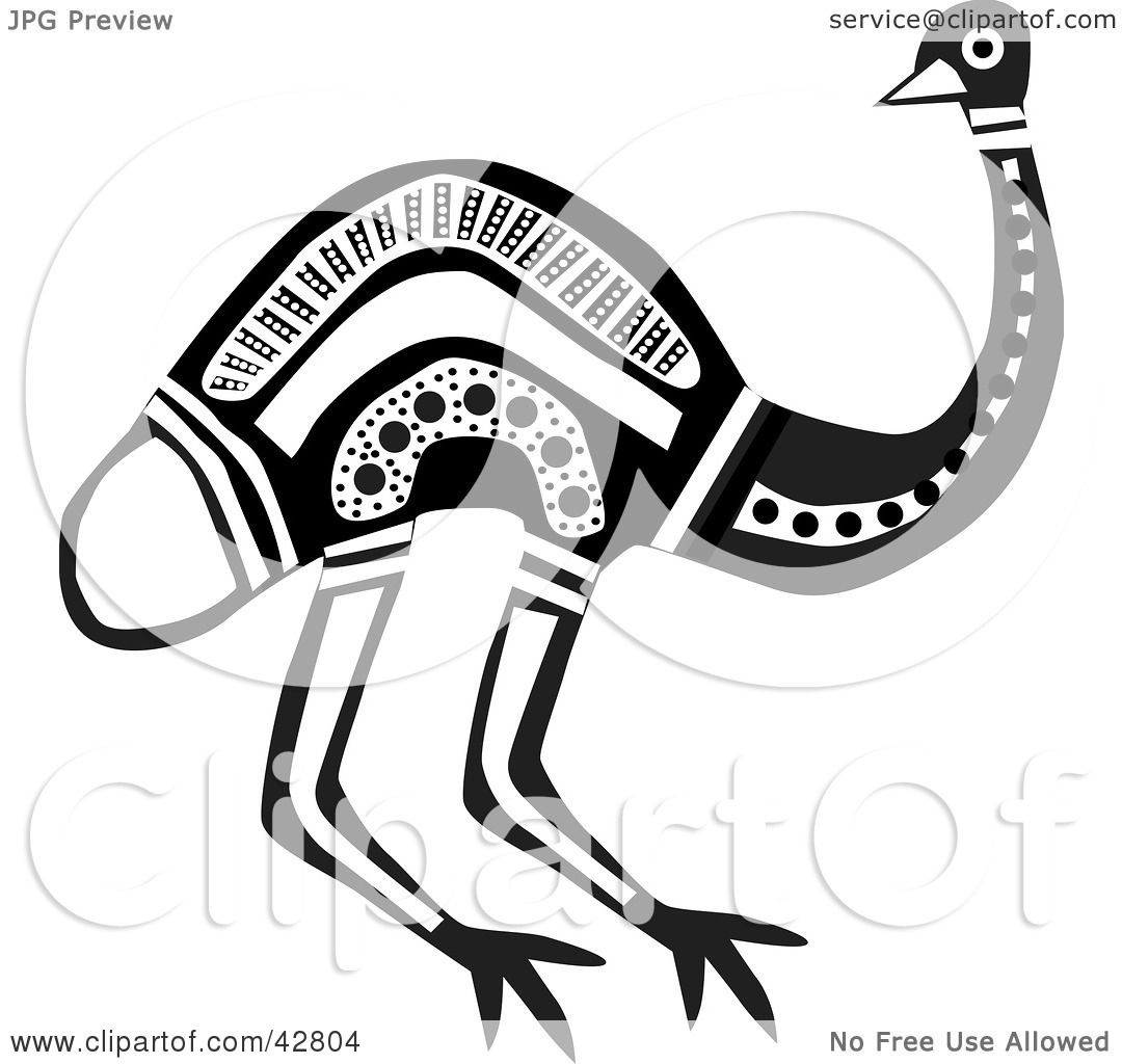 Clipart Illustration of a Black And White Aboriginal Emu ...