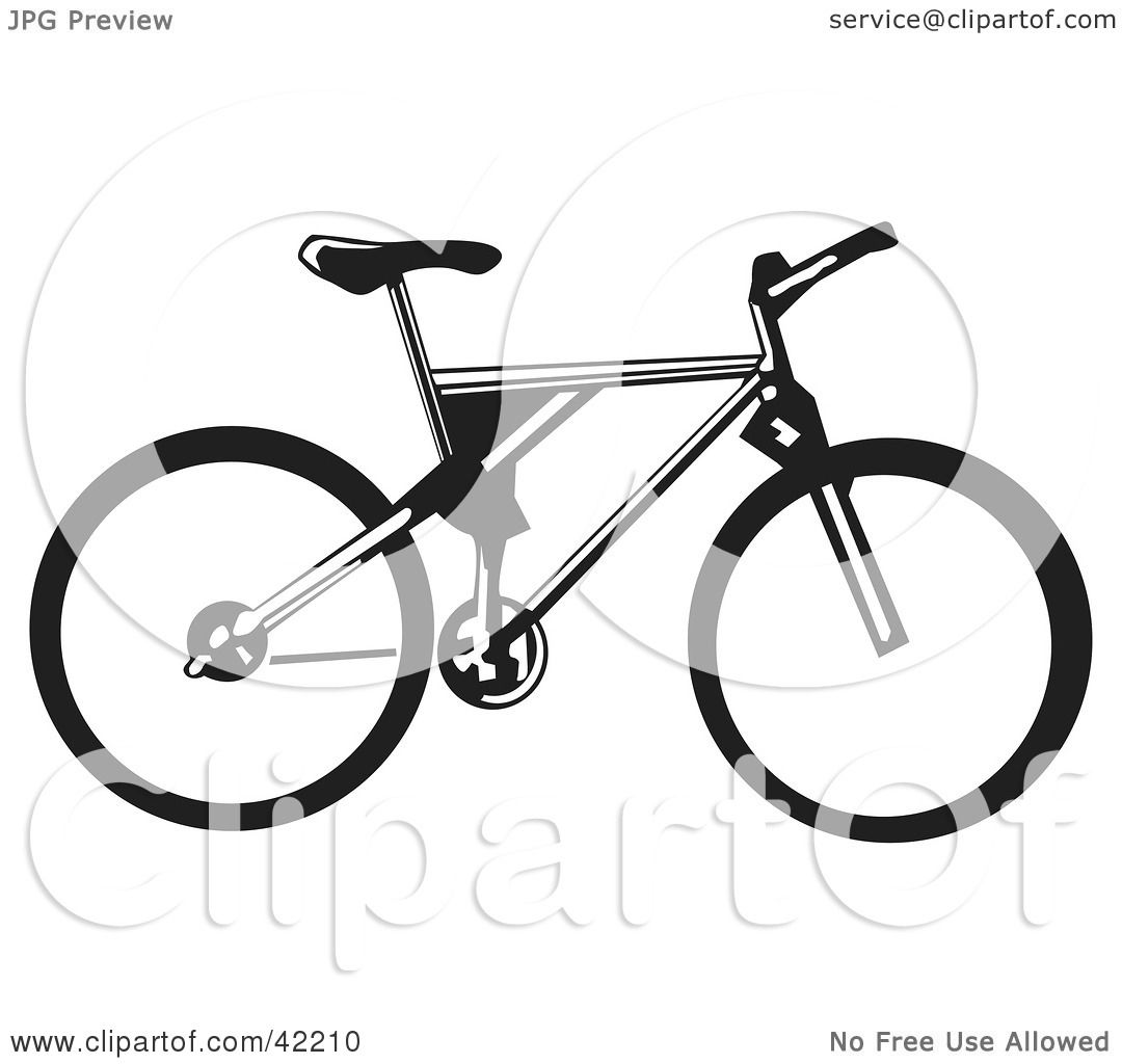 Clipart Illustration of a Black And White Bicycle by David Rey #42210 for Bicycle Clipart Black And White  104xkb