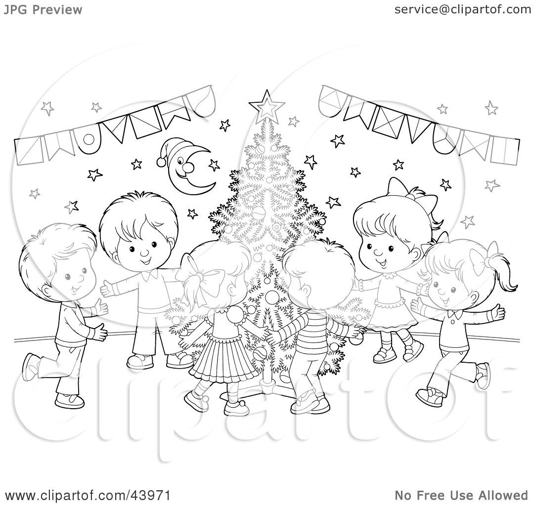 Clipart Illustration of a Black And White Children Dancing ...