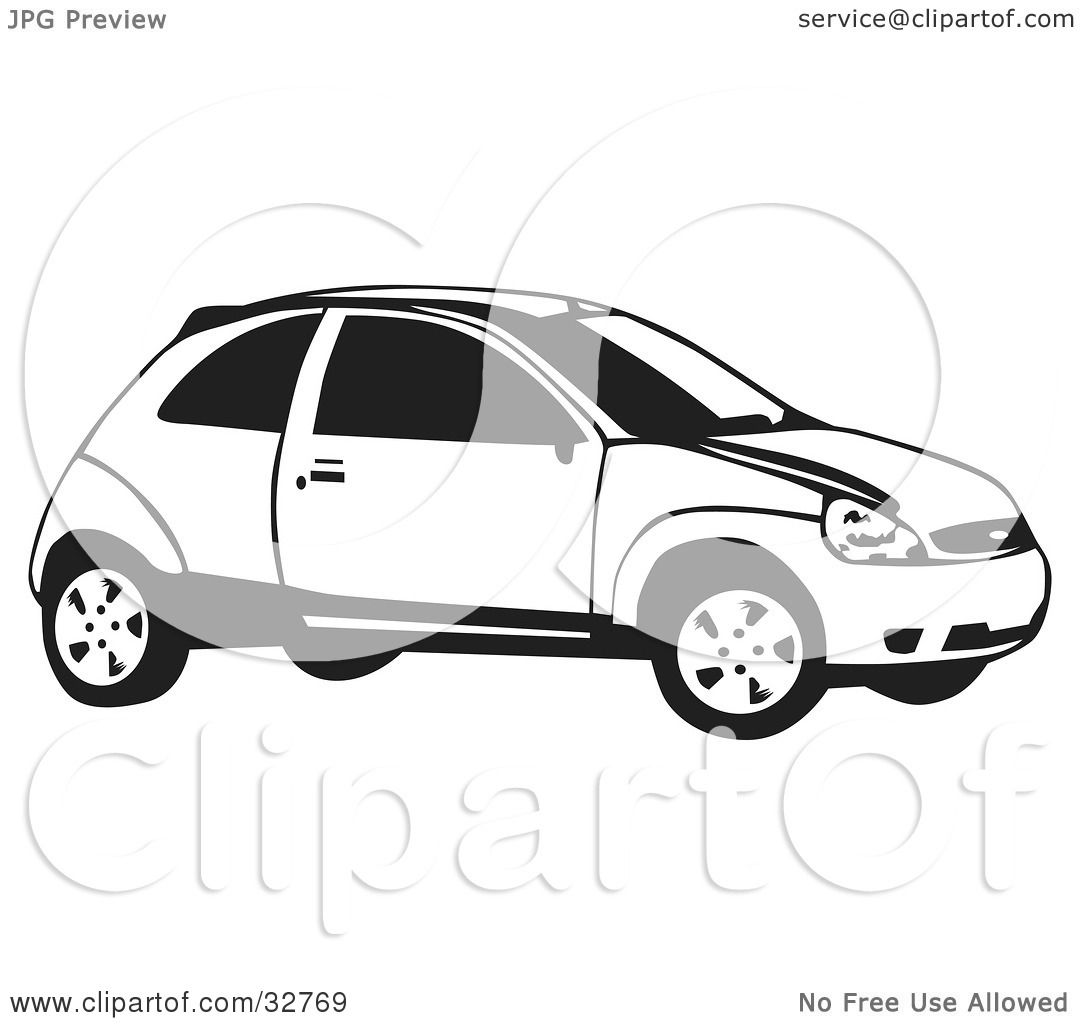 Black And White Ford: Clipart Illustration Of A Black And White Ford Focus