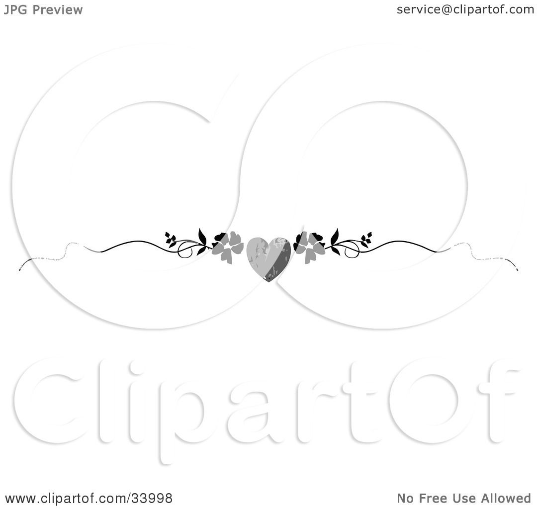 Clipart Illustration of a Black And White Grunge Heart With ...
